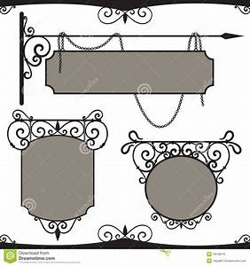 vintage wrought iron signs stock vector illustration of With vintage sign templates free