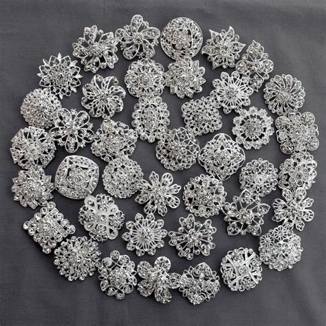 40 Brooch Lot Sliver Rhinestone Crystal Pin Wedding