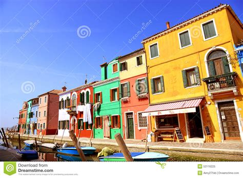 Boat Dealers Near Venice by Colorful Houses On The Burano Venice Italy Stock Image