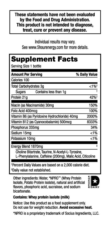 hour energy nutrition label  protein es suppfacts