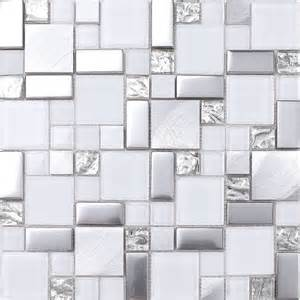 tile sheets for kitchen backsplash white gray metal glass mosaic kitchen backsplash tile 12 quot x12 quot sheet modern mosaic tile
