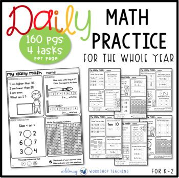 Daily Math Review Worksheets Or Task Cards Grade One Bundle For The Entire Year