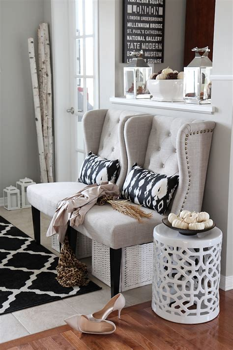 Entry Decor - neutral glam fall tour and fall decor ideas setting for four