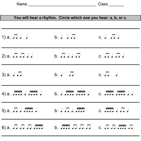 Rhythm Worksheets  Exclusive Music