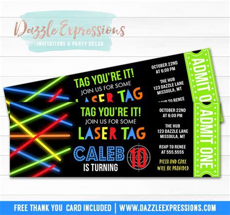 printable glow laser tag ticket birthday invitation kids