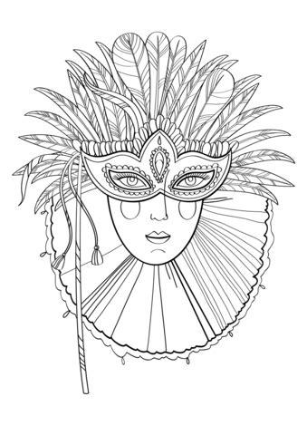 beautiful lady  carnival mask coloring page