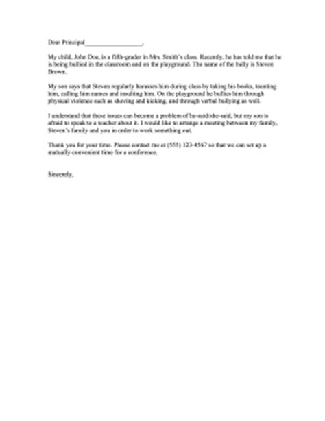 bullying complaint letter