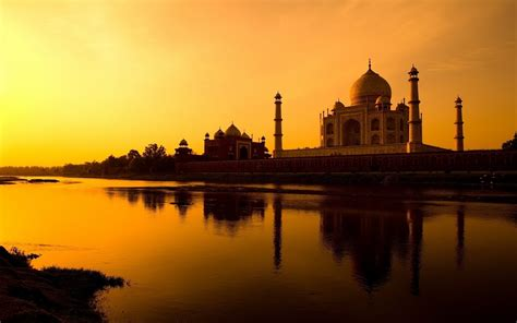 sunset taj mahal palace river reflection india