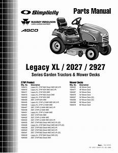 Simplicity Legacy Xl 2027 Parts Manual    2927 Series