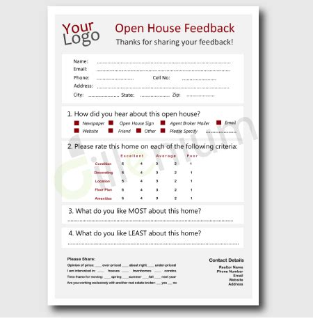 broker open house feedback form real estate open house feedback form for realtors