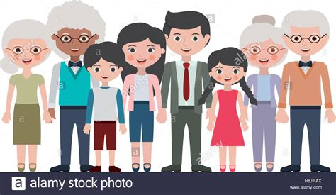 Grandparents Parents And Kids Cartoons Icon. Family