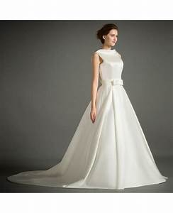 classic ball gown high neck court train satin wedding With high neck wedding dresses