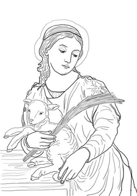 saint agnes coloring page supercoloringcom