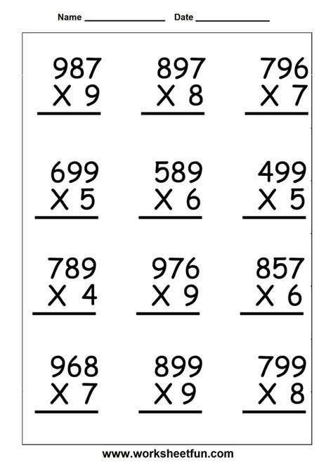 Multiplication Worksheets For 5th Grade  Worksheetfun  Free Printable Worksheets  Places To
