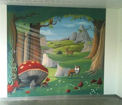 fresque chambre b fresque murale forêt enchantée chambre obé