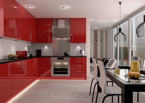 Red Kitchens : Ultragloss Red Kitchen Doors
