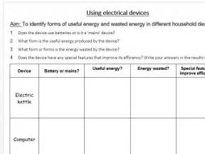 Useful And Wasted Energy In Electrical Devices (worksheet