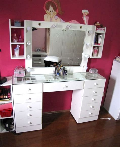 white desk with mirror and lights dressing table mirror lights white dressing table with
