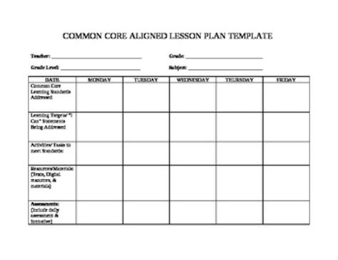 lesson plan template using common standards friendly common lesson plan template by photochick s corner