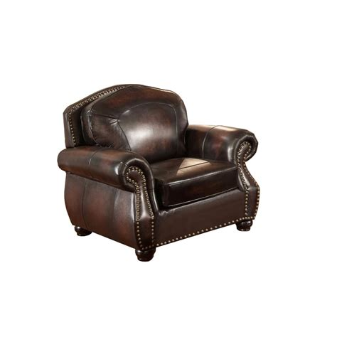 Discontinued Uttermost Ls by Hyde Top Grain Burgundy Leather Armchair With Antiqued