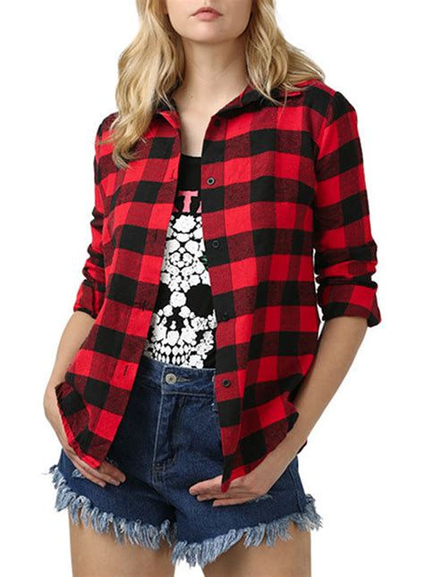 Red Plaid Button Down Shirt For Women