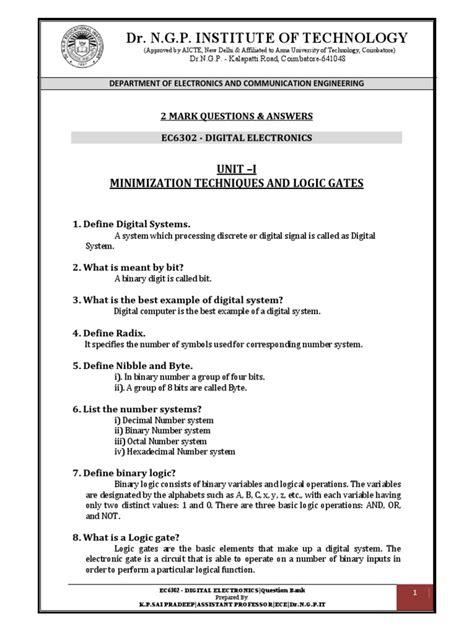 Digital Electronics Question Bank, Digital Electronics 2