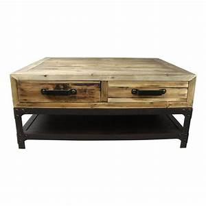 Table Basse Bois Et Noir : table basse 100 cm en bois vieilli et mtal noir cullen ~ Teatrodelosmanantiales.com Idées de Décoration