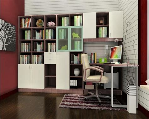 bookshelves with study table design living room
