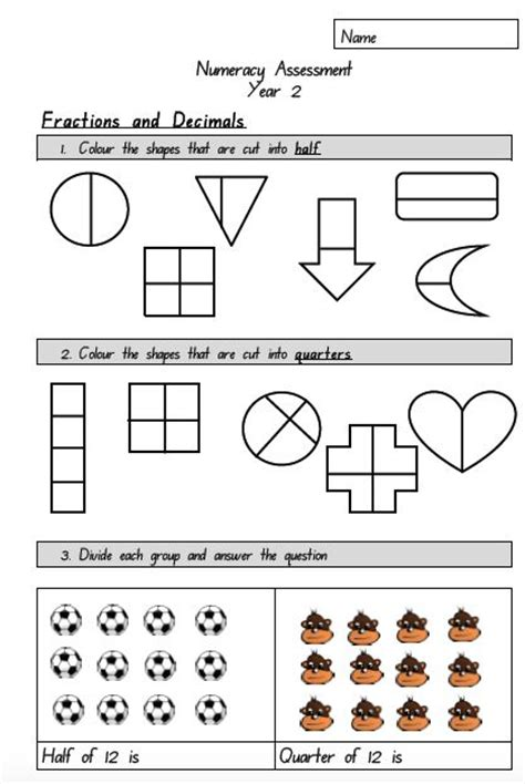 Fun Fractions Lesson Year 2  Year 2 Maths Assessment