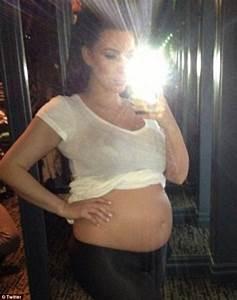 Kim Kardashian  Pregnant Star Shows Off Her Baby Bump On