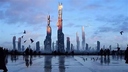 Futuristic Cityscape Building Digital Sci Fi Sky