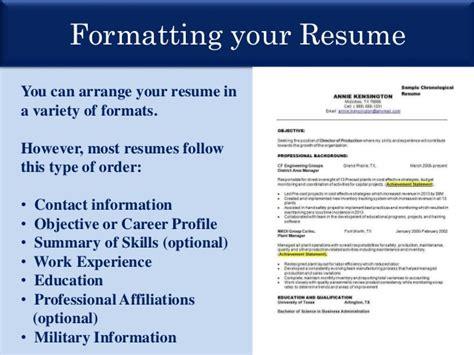 Presentation Of Resume For by Resume Presentation