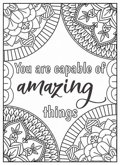 Coloring Motivational Mandala Inspirational Quotes Quote Positive