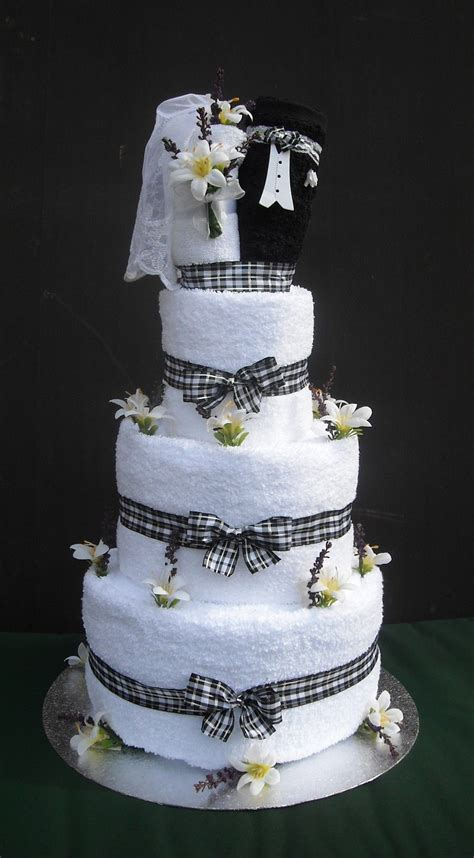 wedding towel cake bride and groom wedding towel cake
