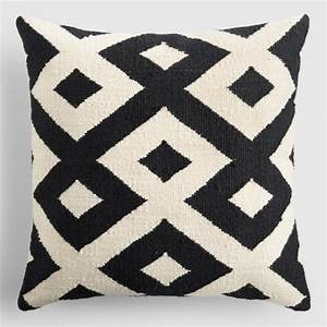 black and ivory geometric indoor outdoor throw pillow With black and ivory throw pillows