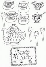 Coloring Tea Printable Adult Teapot Teacup Patterns Coffee Sheets Printables Fancy Nancy Clip Boston Afternoon Clipart Mad Princess Hatter Embroidery sketch template