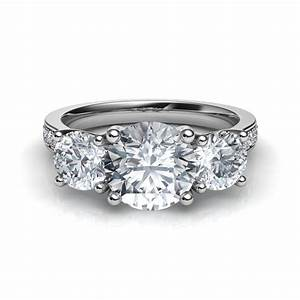 three stone trellis engagement ring with pave diamonds With wedding rings with 3 diamonds