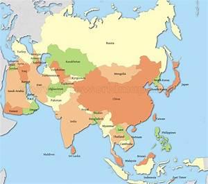 Map of asian countries - TravelQuaz.Com