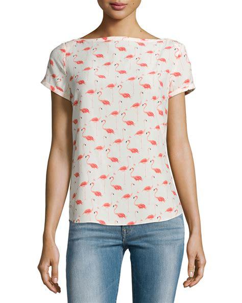 flaminggo top lyst kate spade new york sleeve flamingo print top
