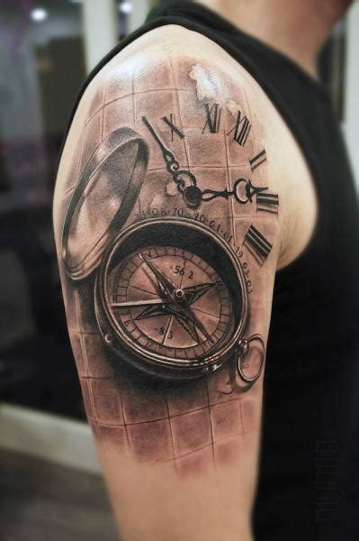 compas  clock realistic tattoo  mumia tattoo