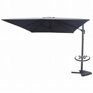 Parasol Inclinable Rectangulaire : parasol d port rotatif inclinable cesare 3x4m gris ~ Teatrodelosmanantiales.com Idées de Décoration