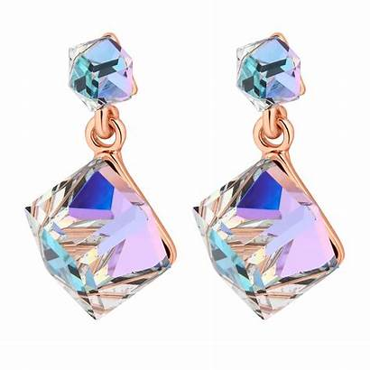 Swarovski Aurora Crystals Gold Rose Earring Cube