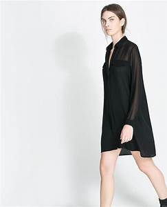zara shirt dress in black lyst With robe tunique zara