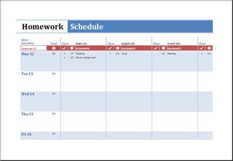 ms excel printable homework schedule template excel