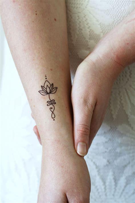 Unalome Lotus Temporary Tattoo (set Of 2)  Lotus Tattoo