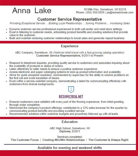 exle resume for customer service representatives customer service representative resume exle 2016