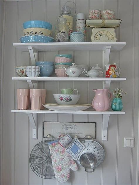shabby chic crockery love the white shelves with the pretty crockery home kitchen pinterest china display