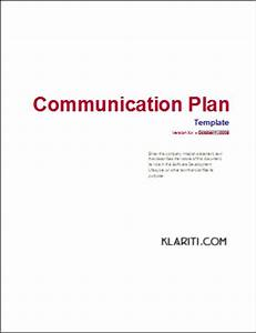Communication Plan Templates – Download MS Word and Excel ...