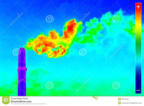 infrared heat l for plants thermovision image plant chimney stock image