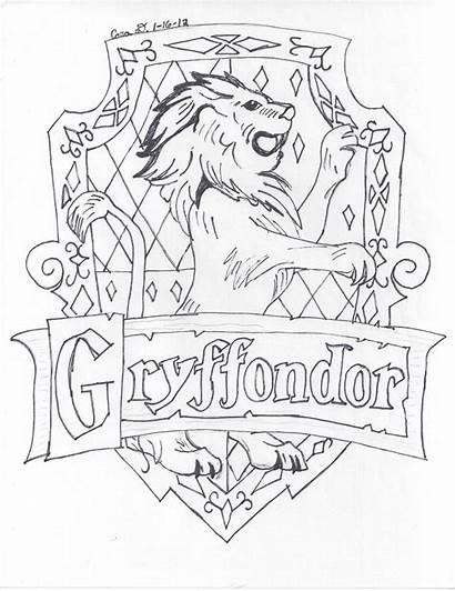 Gryffindor Coloring Crest Potter Harry Sketch Hogwarts